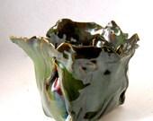 Hand Built Porcelain Vase - Seaweed Green