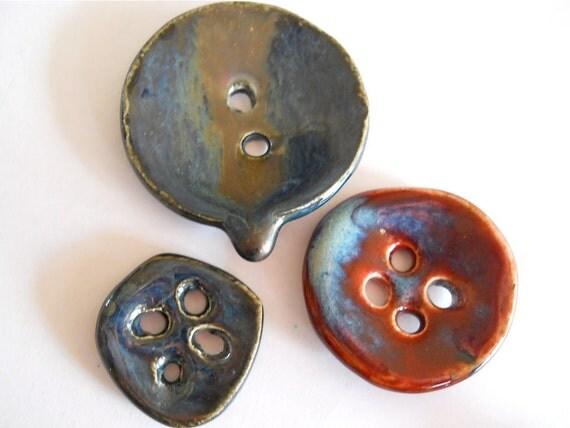 Handmade Porcelain Buttons - 3 Unique