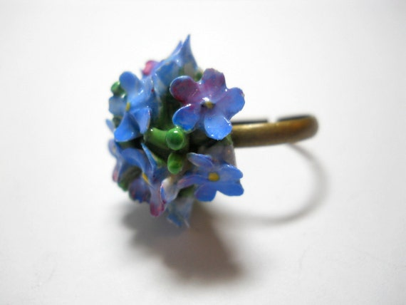 Ring Blue Bone China Flower Up Repurposed Pin OOAK