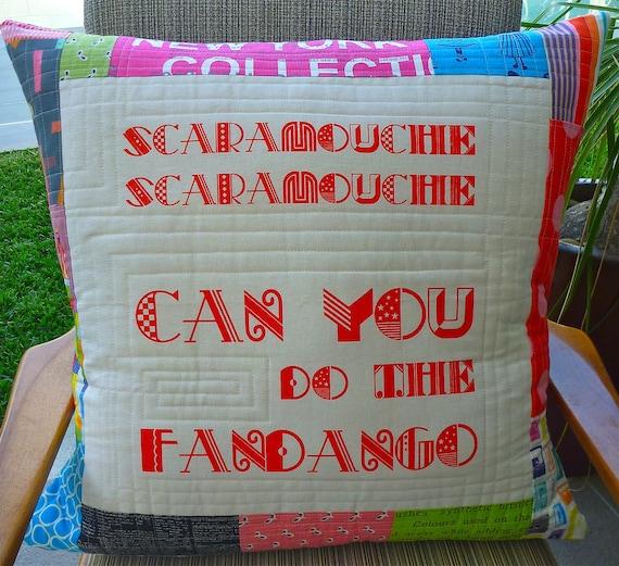 "Screen printed Singsongs Cushion - ""Do the Fandango"" - one of a kind"