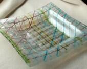 "Fused Glass Art Plate    ""Basket Wave"""