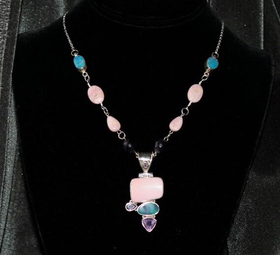 Sterling Silver  Gemstone Pendant  Necklace
