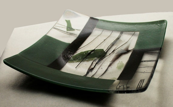"Fuse Glass Art Plate, Home Decor  "" Spring Quilt """