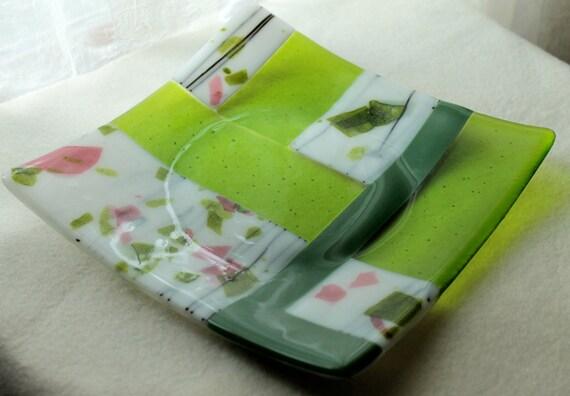 "Fused Glass Art Plate  ""Springtime Sonata 2"""