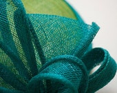 Green Sinamay Fascinator Hat With Loops
