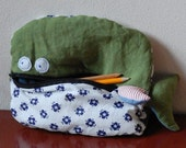 Greenland Whale - pillow toy with pocket mouth