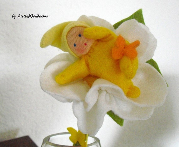 OOAK FLOWER BABY Waldorf summer baby felt flower in swinging glass vase new baby gift