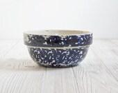 Vintage Mixing Bowl, Blue Spongeware - Kitchen, Dish, Rustic