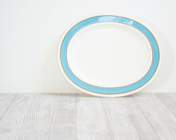 Teal & White Serving Platter with Gold and Black Accents