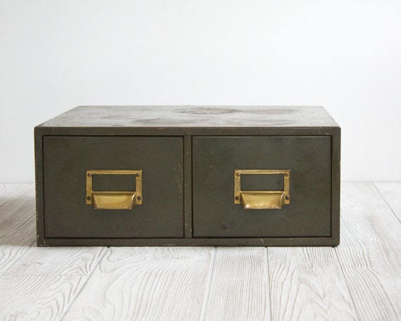 Vintage Industrial Metal Card Catalog, Army Green with Brass Label Holders
