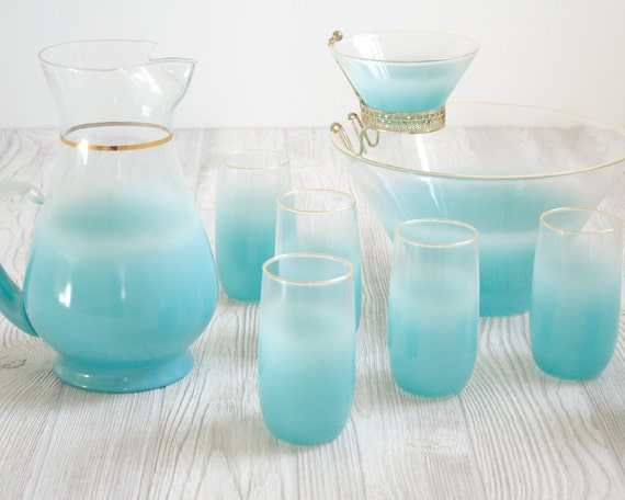 Punch Bowl Set Aqua Ombre Glasses, Pitcher & Punch Bowl