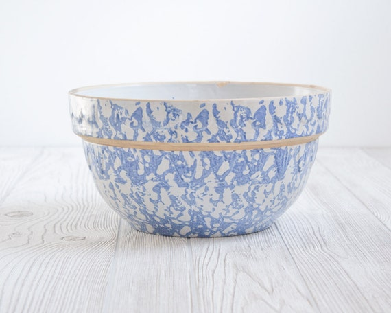 Vintage Mixing Bowl Blue Spongeware - Kitchen, Dish, Rustic