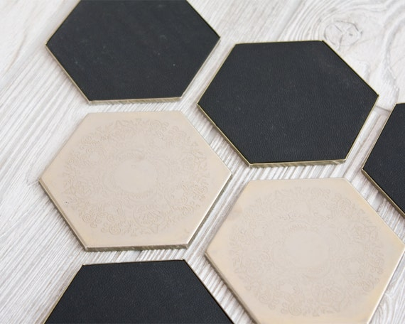 RESERVED for Fab.com - Hexagon Coasters with Caddy, Set of Six