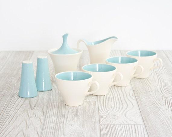 Harkerware Tea Set Blue and White