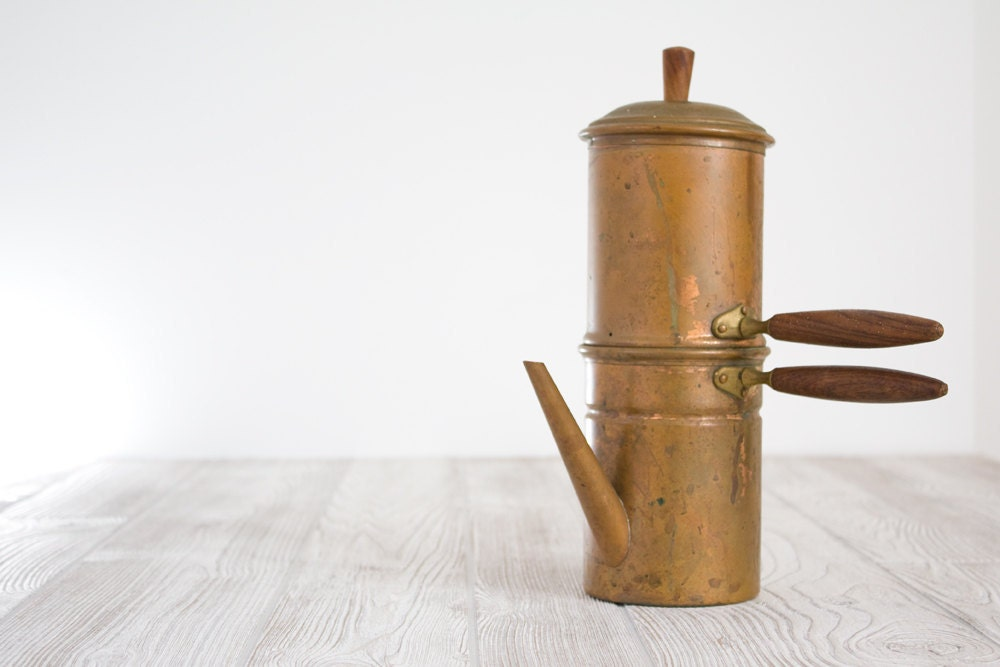 How To Use Vintage Coffee Maker : Vintage Copper Espresso Maker