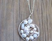 White Pearl and Quartz Sterling Silver Spiral Necklace