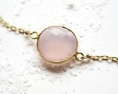 Rose Quartz Bezel Necklace in 18K Gold Overlay