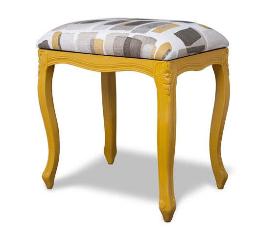 Yellow Vanity Bench Seat with Modern Upholstery