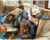 Handmade baby quilt, boys larger crib quilt, toddler bed quilt, boys blanket,  nursery decor, owls and critters