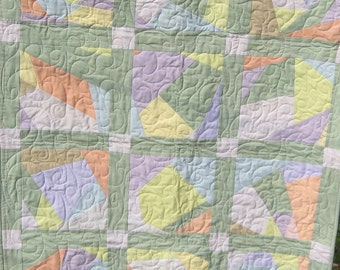handmade pastel lap quilt modern patchwork throw