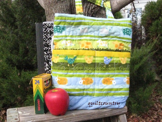 Handmade quilted toddler boys tote bag, book bag, toy tote, lunch sack
