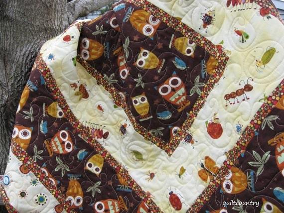 Handmade baby boy owl quilt, crib bedding, owl blanket, modern baby quilt, owl nursery decor