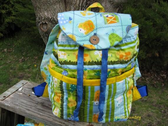 Boys handmade quilted back pack,  toddler or pre school book bag, kids overnight bag