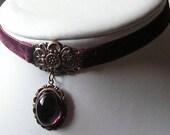 purple victorian necklace velvet garnet gothic style fetish-CLAUDIA-