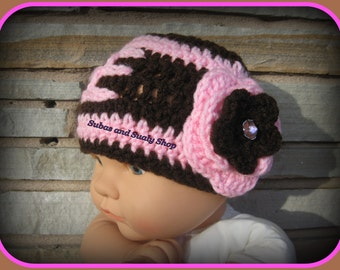 Crochet Football hat with Flower Brown/Pink