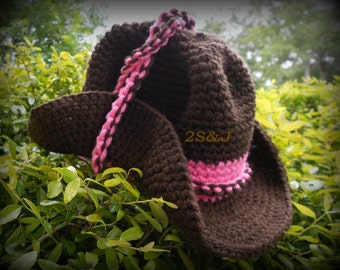 """Crochet Cowgirl Hat, (Newborn to 3 months) Handmade Brown and """"bubble gum"""" Pink"""