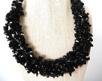 Black Onyx Chip Torsade with Silver Wheels Necklace Gift fashion under 50