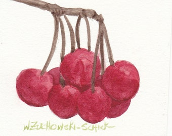 Red Cherries Original Watercolor