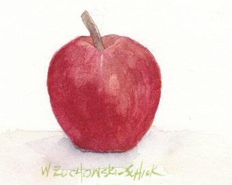 Red Apple Original Watercolor