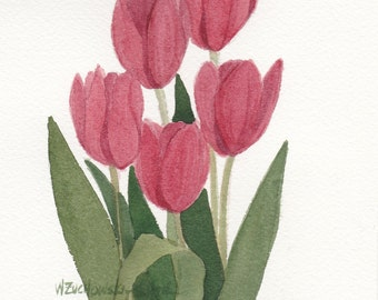 Red Tulips Original Watercolor Painting from My Garden