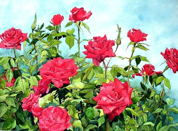 Red Roses Garden Watercolor