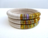 RESERVED for Heather (Bespoke)   Wrapped Bangles - Autumn colors - hand dyed cotton thread