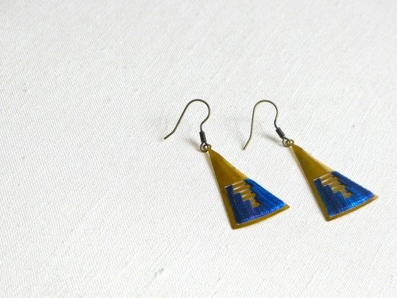 Triangular Blue Ombre Earrings - brass and dyed cotton thread