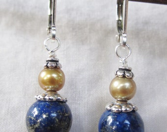 Lapis, Gold Freshwater Pearl, and Sterling Silver Earrings