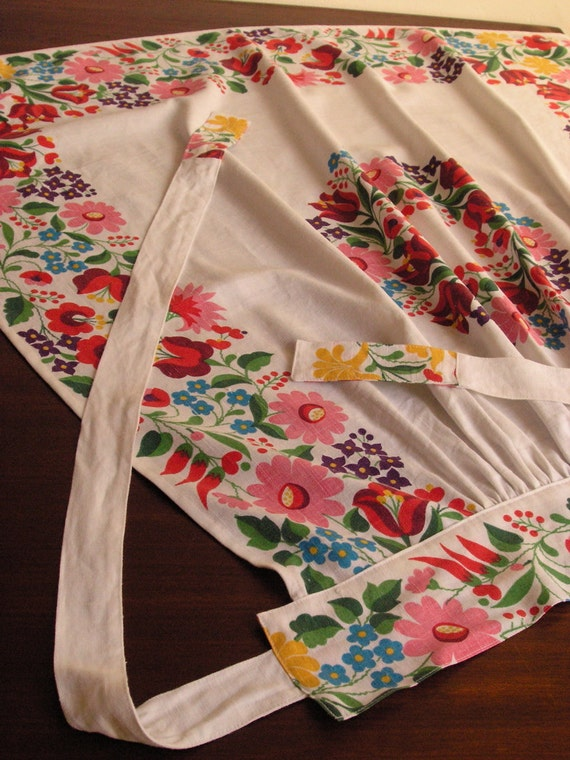 Floral print long apron, one of a kind
