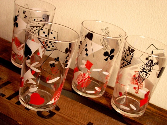 Playing cards and domino glasses, set of 4