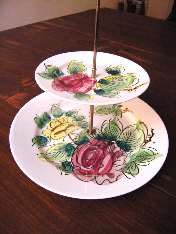 Handpainted 2 tier cake stand/ hostess stand