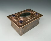 copper repousse keep-sake, small treasure box w/ large labradorite and amethyst cabs
