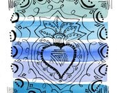 Watercolor Blues Heart Milagro 6x6