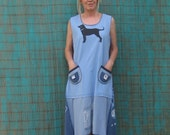 The Black Dog T-Shirt Dress, Upcycled, Ocean Blues, Size Large Tall