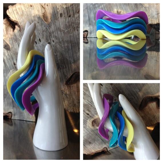 Four Wavy 80's Multicolor Stacking Bracelets