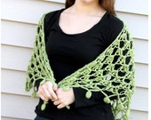 Crochet Lace Triangle Shawl Wrap, Apple Green with Circle Fringe