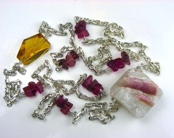 PINK Tourmaline Quartz Brazilian Pendant Necklace made with Stunning Sterling Silver Chain