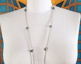 GREEN Tourmaline Necklace Brazilian Quartz Pendant made with Stunning Sterling Silver Chain