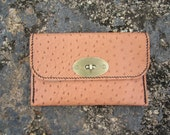 Tanned ostrich 'SPARROW' leather clutch