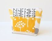 Patchwork Zippered Pouch in Yellow Gray Natural Echo fabric by Lotta Jansdotter